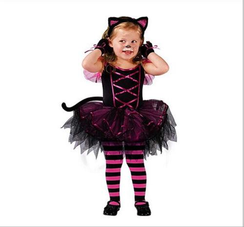 Halloween Girls Princess Fancy Dress Up Costume Outfits: Kids Child Girls Kitty Cat Costume Carnival Halloween