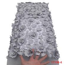 Кружевная ткань в африканском стиле, с 3D цветами, высокое качество, французский тюль, кружевная ткань с аппликацией, в нигерийском стиле, Сет...(Китай)