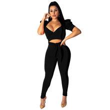 Сексуальный комплект из 2 предметов, укороченный топ и штаны, облегающий клубный наряд, топ с v-образным вырезом на шнуровке, бандажный топ и ...(Китай)