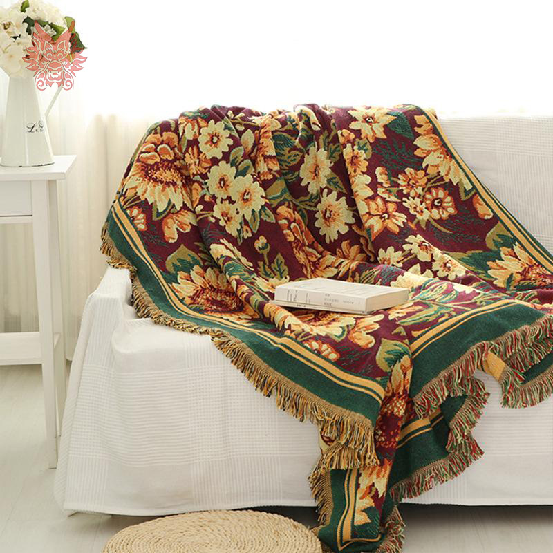 100%Cotton Sofa Towel Gerbera Duplex Print Sofa/chair
