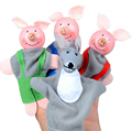 4PCS Three Little Pigs And Wolf Finger Puppets toys Hand Puppets Gifts Baby girls boys Finger