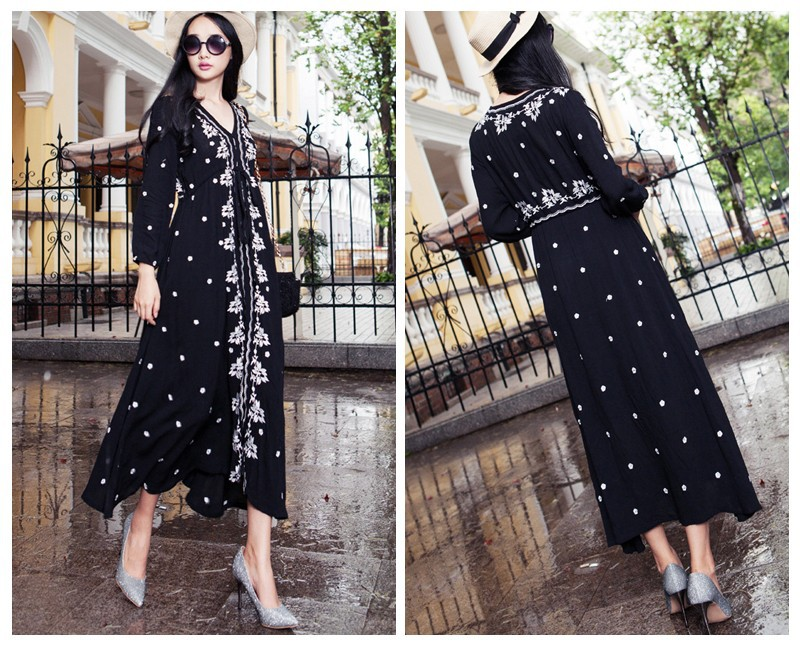 c703551eba Ethnic Embroidery Bohemian Boho Hippie Dress Maxi Long Linen Vintage ...