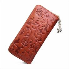 New Fashion Women Purse Genuine Leather Bag Wallet For Women Brand Designer Flower Vintage Wallet Zpper Coin Purse Bag Female