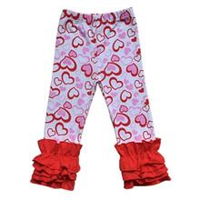 Пасхальные штаны для девочек детские леггинсы с тройной оборкой на День святого Валентина для девочек штаны с пасхальными яйцами для мален...(Китай)