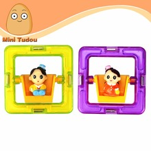 Minitudou Square With Dolls Boys And Girls Magnetic Magformers Magnetic Building Toy Children Educational Toys