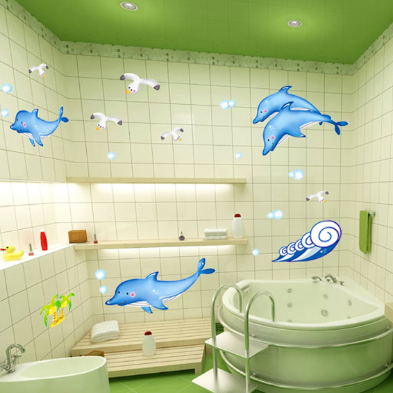 Dolphin Bathroom Tiles: Blue Ocean Dolphin/Shark/Whale Wall Stickers For Kids