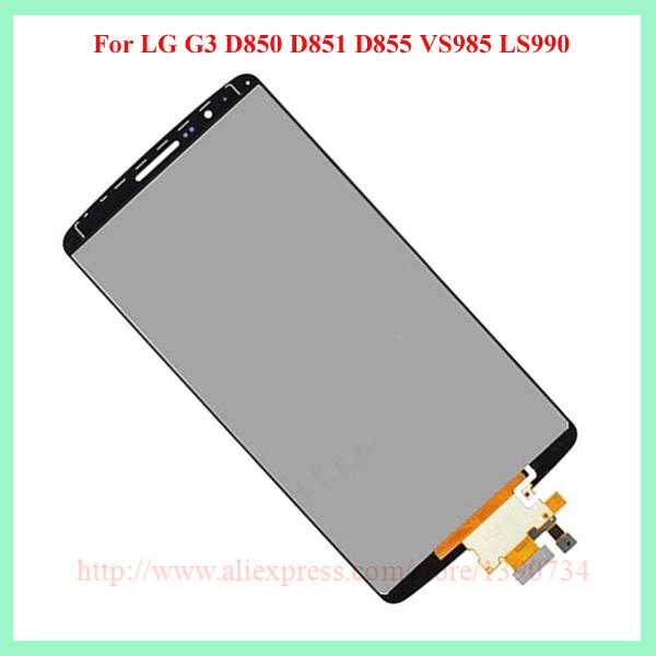 100% испытания серый / белый / золото полный жк-дисплей + сенсорный экран планшета ассамблеи для LG G3 D850 D851 D855 замена бесплатная доставка