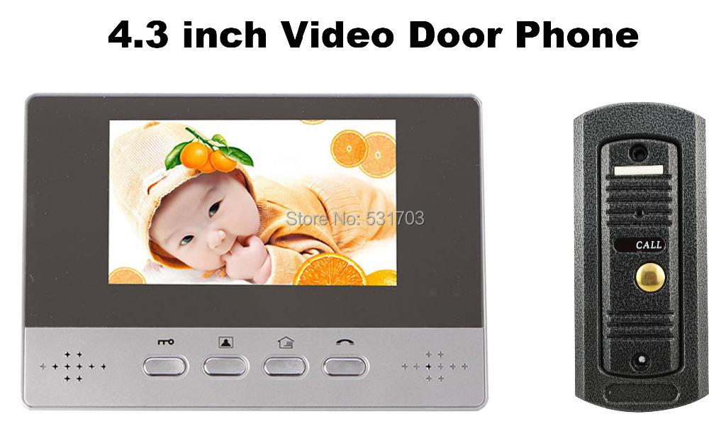 4.3 дюймов цветной видео-телефон двери handfree видео-домофон с водонепроницаемая камеры-обскуры монитор