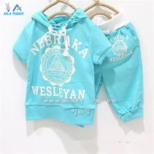 Girls boys clothing set short sleeve t shirt + hoodies pants 2pcs clothing set childrens summer clothes kids clothes