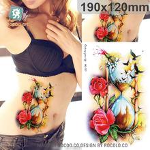 Belas tatuagens temporárias à prova d' água para os homens mulheres 3D rose pássaro MC2727 funil design grande etiqueta do tatuagem Frete Grátis