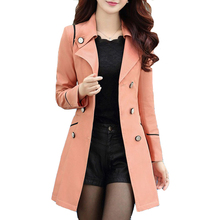 Autumn Casacos Femininos 2015 Hot Sale New Fashion Style  6 Colors Trench Coat For Women Long Slim Double Breasted Coats