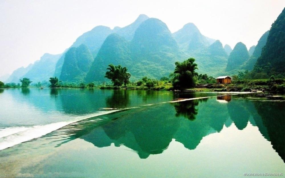 Free Ship Nice Home Decor China Natural Lake Landscape Custom Canvas Poster Stylish Wallpaper Fashion WalSticker PN#1088#
