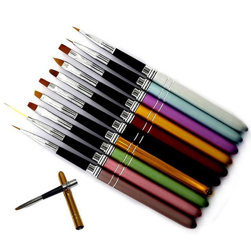 10Pcs Different Sizes Nail Art Brush Set Design Polish Nylon UV Gel Painting Nail Brushes