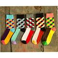New Brand Happy socks British Style Plaid Socks Gradient Color High Quality Men s Cotton argyle