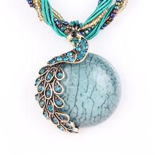 2016 nova Pavão decoração colar de cadeia curta clavícula Feminina Turquesa áspera pedra pingente colares de jóias de estilo verão