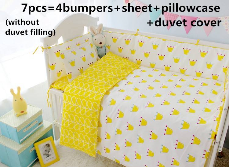 Promotion 6 7PCS Crib Cot baby bedding set curtain berco crib bumper baby bed Duvet Cover