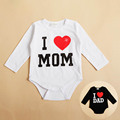 I Love MOM DAD Print Infant Toddler Baby Girl Boy Romper Jumpsuit Clothes Shirt
