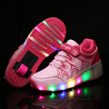 Heelys Children Roller Shoes With Wheel Boy Girl Automatic LED Lighted Flashing Roller Skates Kid Sneakers