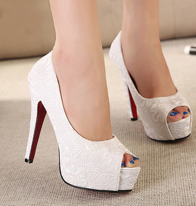 9c4a966cec69 Aliexpress.com   Buy 2015 New Sweet White Wedding Shoes Red Bottom ... black  ...