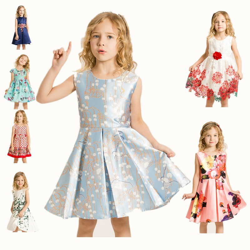 kinder Girls Clothes Kids printing Cotton Sleeveless summer high-quality Casual Party for Dress dresses girls kids 10 years