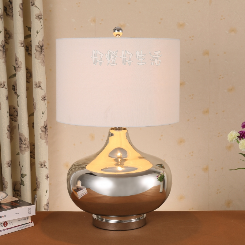 Large Table Lamps For Living Room: American Brief Chrome Large Glass Table Lamp Mercury