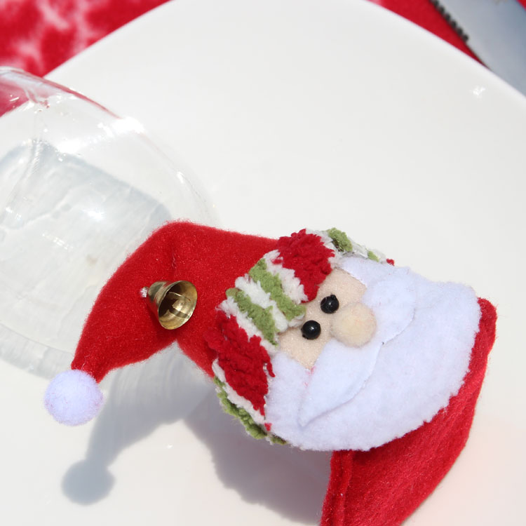 5pcs santa claus red wine glass Coaster goblet Pad party Home Table christmas Decoration Coffee Drink Placemat Cup Mat