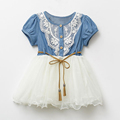 Summer Fashion Cute Girls Baby Kids Short Sleeve Lace Patchwork O Neck Denim Belt Tulle Gown