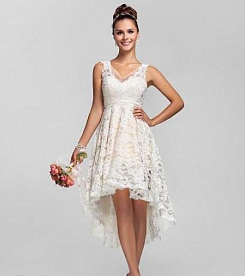 Hi Lo Wedding Gowns: Vintage Spaghetti Short Bride Dresses Hi Lo Tea Length