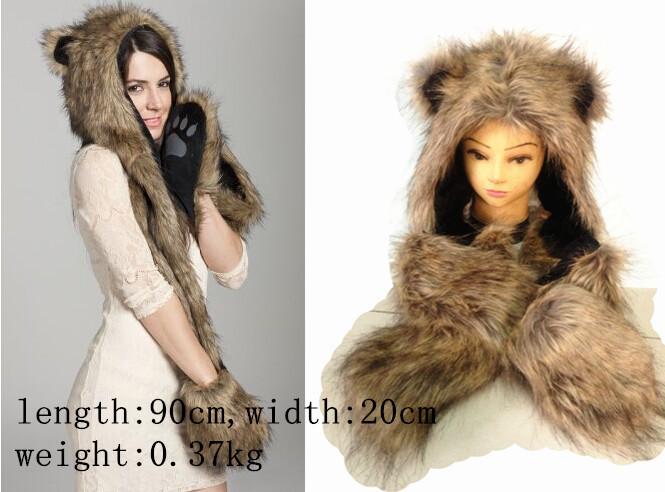 Wholesale 5 Design Faux Fur Winter Hat Animal Wolf Hood Scarf Gloves ... eb2d70ac8d40