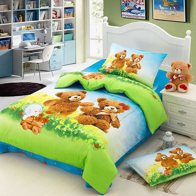 Teddy Bear Cartoon Cute Bedding Set For Kids Children Twin