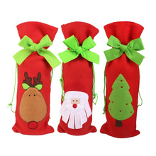 3pcs Christmas Santa / Deer / Tree Pattern Drawstring Wine Bottle Bag Gift Pouch Wrap Dinner Table Decoration Home Party Decor