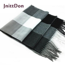 2014 male wool scarf male plaid cashmere scarf muffler lovers thick thermal double faced