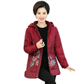 Middle Aged Woman Hooded Cotton padded Coat Red Green Overcoat Dot Leaves Pattern Wadded Jackets Woman