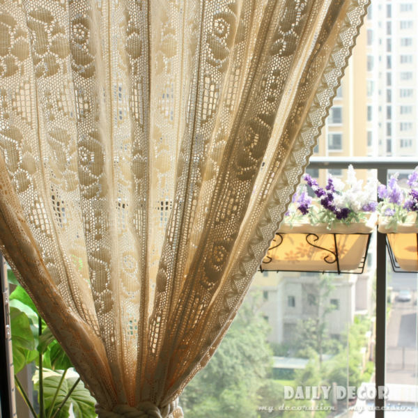 240 255cm vintage beige handmade crochet curtain rose hook needle curtains las cortinas rideau. Black Bedroom Furniture Sets. Home Design Ideas