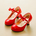Spring Red High Heel Children Shoes Girls Solid Party Latin Dance Shoes Sandalias Bow Patent Leather