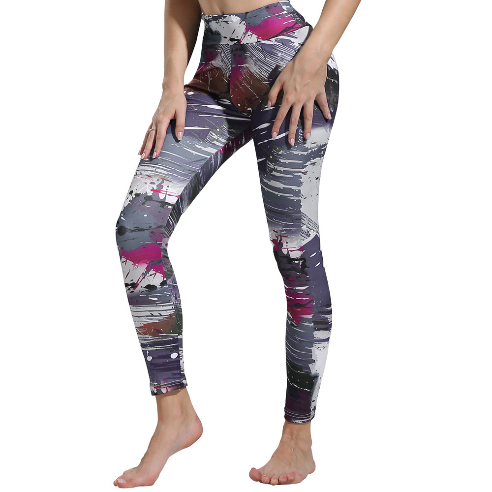 da808f3fb18 Womens Print Leggings Sports Gym Yoga Workout Fitness Lounge Athletic Pants