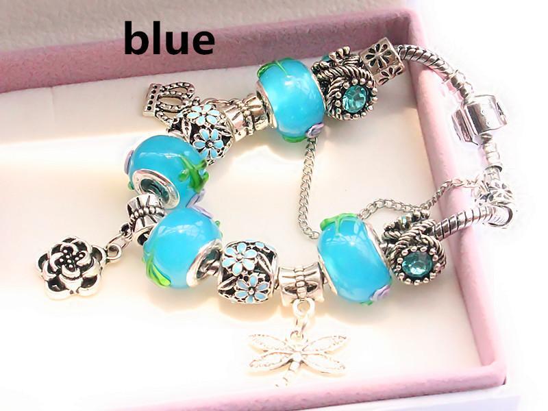 Не увядает браслет из нержавеющей стали 5 цвет муранского стекла бусины Fit подвески пандора браслет для женщины любят подарки мода ювелирных изделий