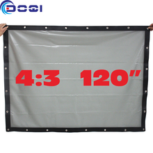 120″ 4:3 Portable Rear Projection Screen Special PVC Soft Curtain with Eyelet for Any Projector Home Theater Outdoor Movie Film