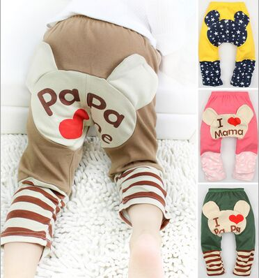1pcs Bear Pink Cute Pattern Kid Toddler Unisex Boy Girl Baby Legging PP Pant Trousers S