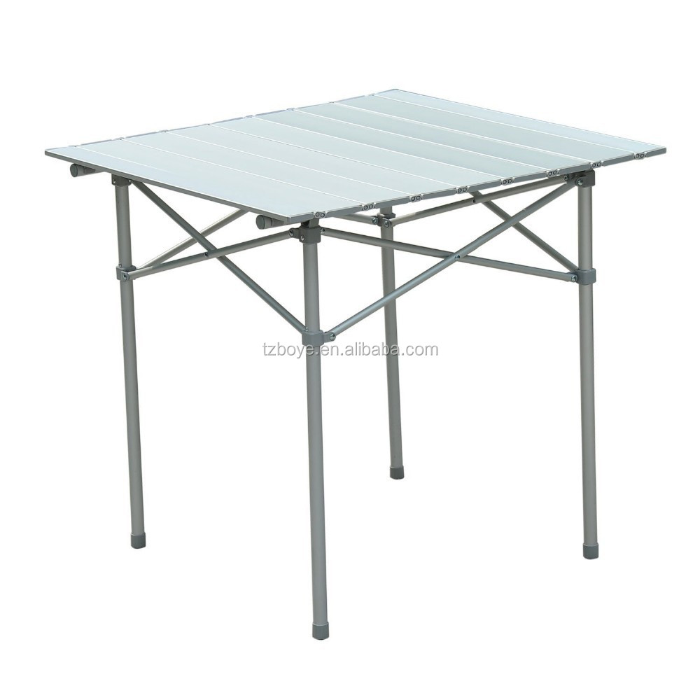 Picnic Time Chairs Roll Up Top Aluminum Camp Portable Camping Picnic Table w ...