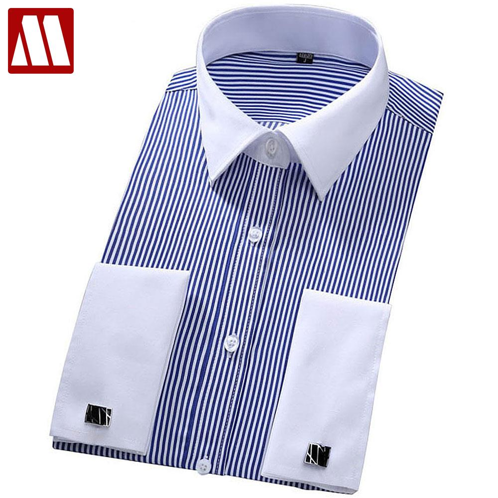 """Men's French cuff dress shirts can bring power, sophistication and style to any occasion that requires formal or semi-formal attire, such as tuxedos, three-piece or business suits. The term """"men's dress shirts"""" applies to long-sleeved, button down shirts that incorporate crisp, clean lines into the design."""