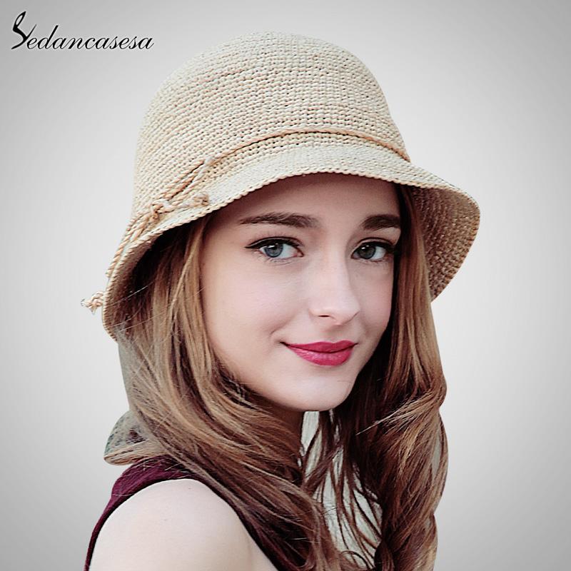 bff2fd99 Sedancasesa Fashion Women Raffia Straw Hat Crochet hats Summer Wide Brim Hat  For Ladies Foldable Bowknot Sun Beach Cap SW105110-in Sun Hats from Apparel  ...