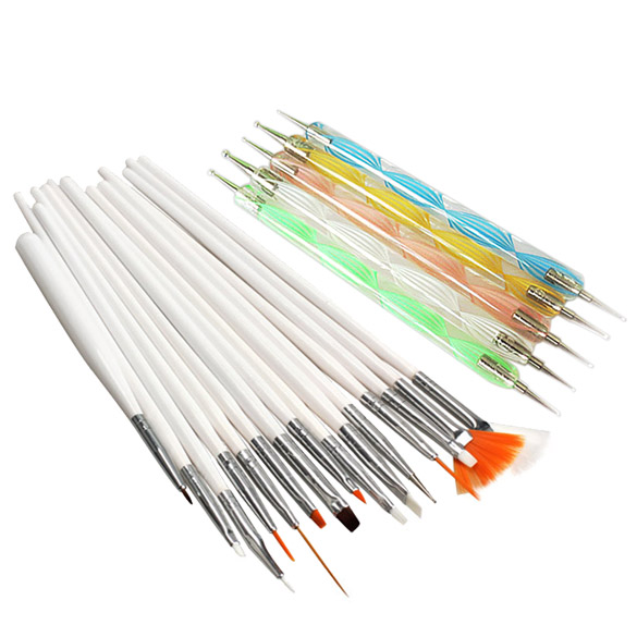 20pcs a set Nail Art Design Set Dotting Painting Drawing Polish Brush Pen Tools Nail Polish