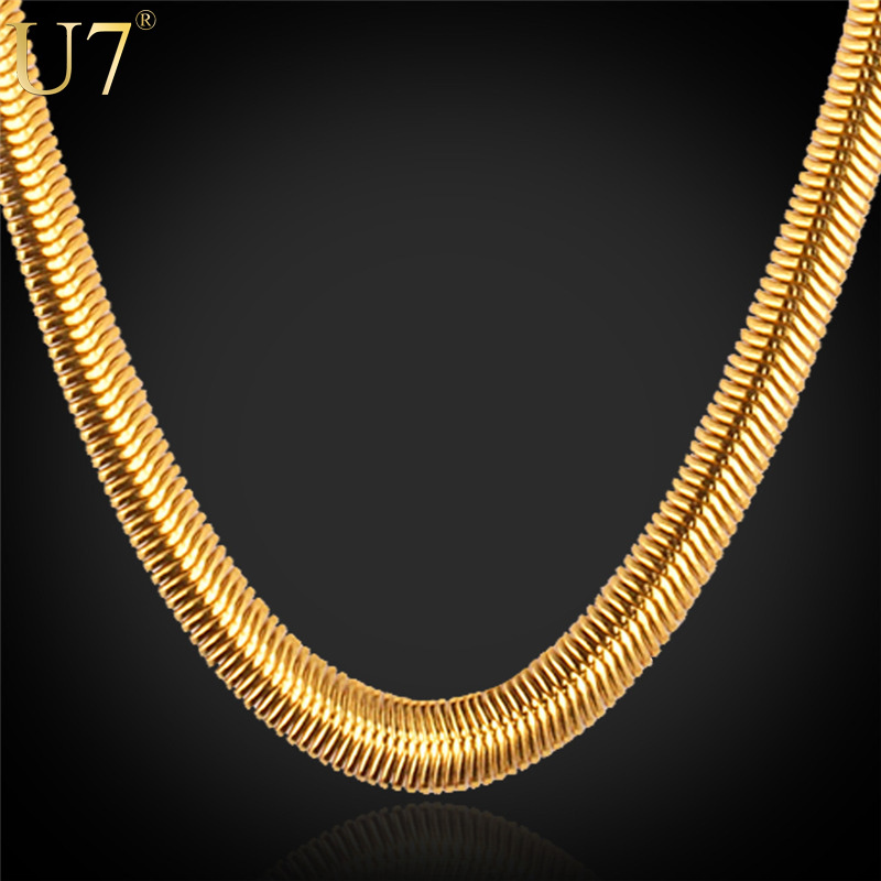 Gold Necklace Stamp 18K Real Gold Plated Stainless Steel Men Jewelry  Wholesale New Trendy 5 MM 5fd72731ad