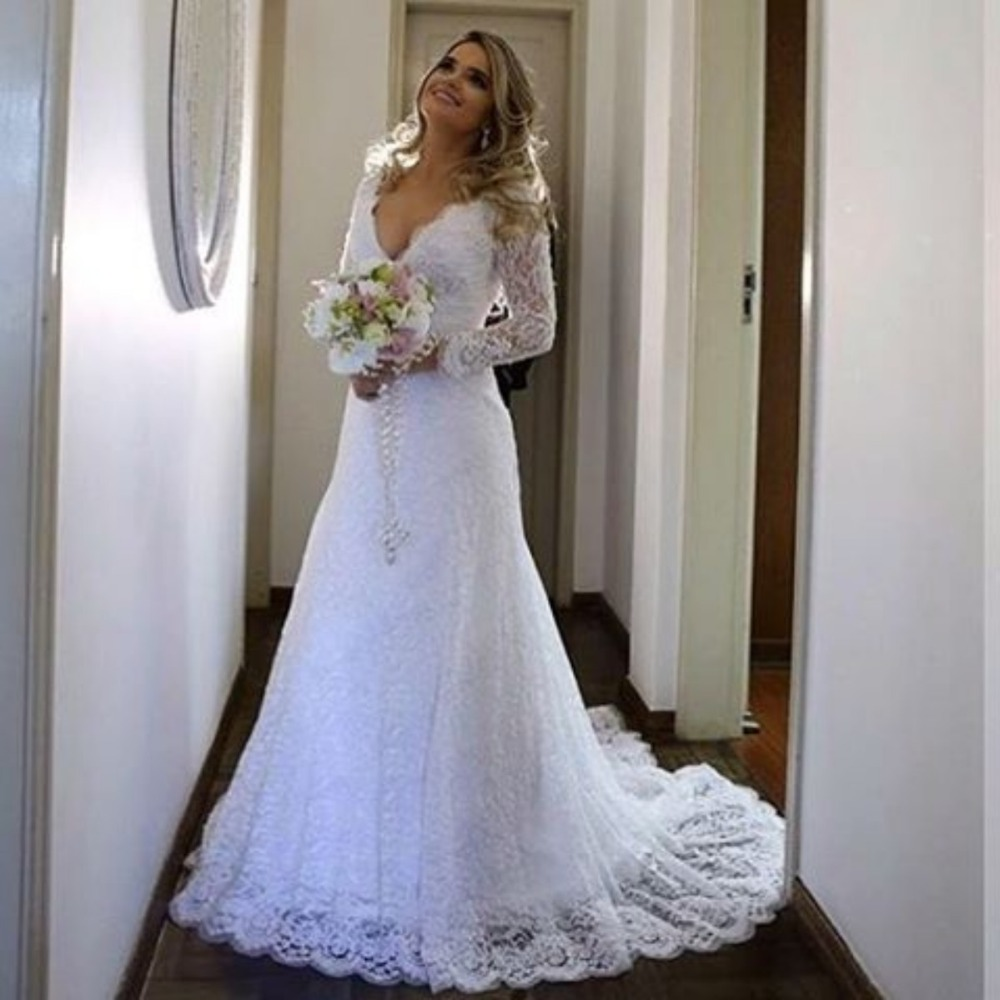Vestido De Noiva 2017 New Elegant Lace Applique Tulle: Elegant Lace Muslim Wedding Dress Vestido De Noiva Lace