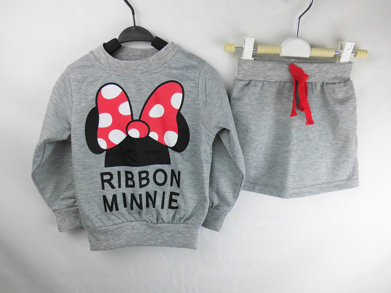 (Lucky Store)2015 minnie kids clothes girls clothing sets baby girl cartoon t-shirt+ skirt 2pcs set