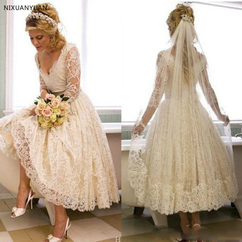 Vintage Lace 1950s Wedding Dresses 2020 Tea Length Country Style Short V Neck Bridal Gowns With Illusion 3 4 Sleeves Custom Made Aliexpress