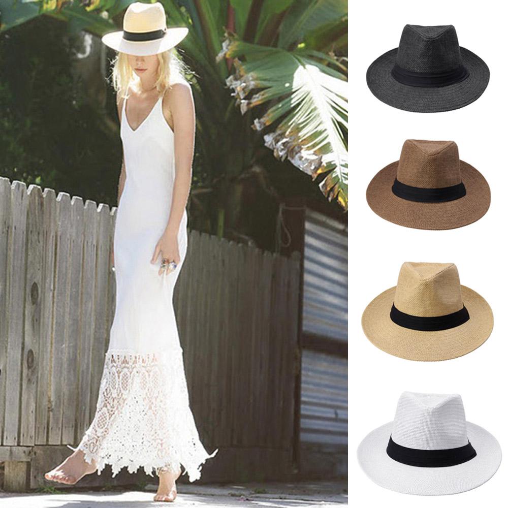 5713791d26e Fashion Men Women Summer Hat Panama Sun Straw Hat Contrast Color Ribbon  Pinched Chapeu Feminino Crown Rolled Trim Beach Cap