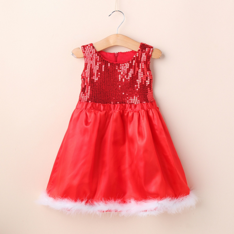 High Quality Baby Girl Toddler Wedding Sundress Red Sequin Sleeveless Party font b Dress b font
