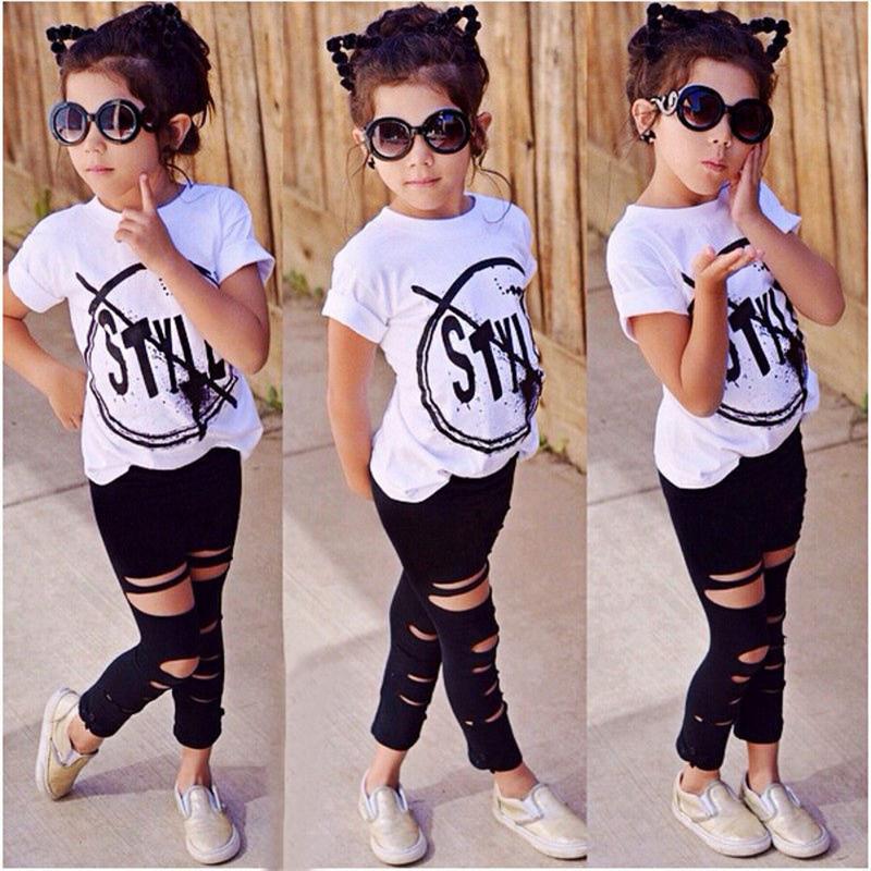 Nice girls clothing sets Kids Girl Short Sleeve Letter Shirt Pant Suit children set ropa de